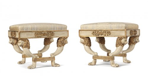 Pair of neo-classical stools, Italy circa 1810