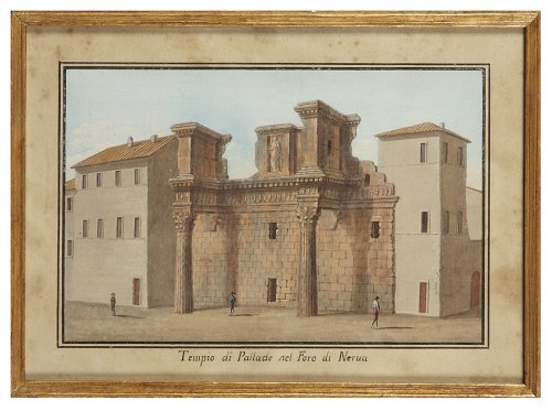 Series of 5 Italian gouaches representing monuments: