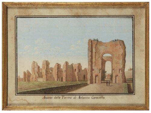 19th century - Series of 5 Italian gouaches representing monuments: