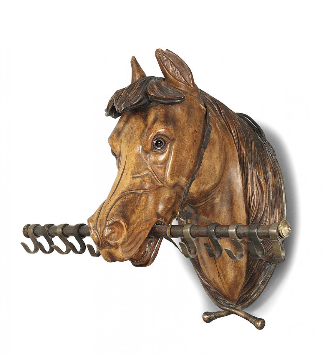 Sculpture en bois t te de cheval porte cravaches xixe - Image tete de cheval ...
