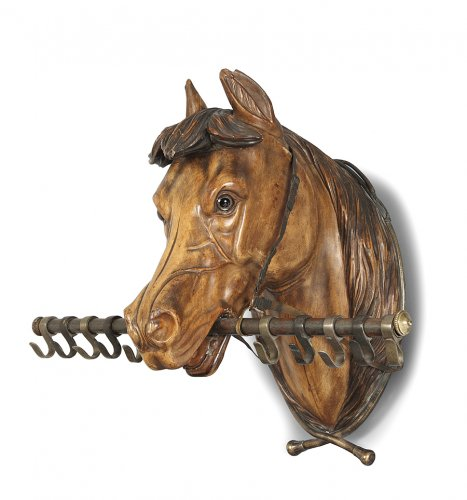 Sculpture in wood, riding-crop, representing a horse's head