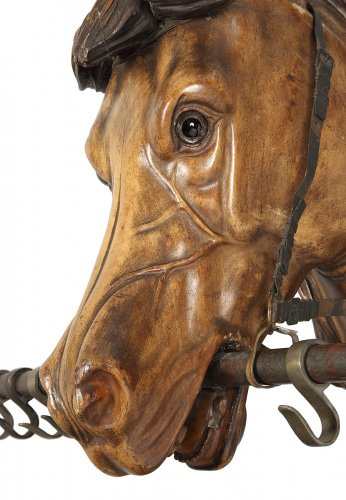 Sculpture in wood, riding-crop, representing a horse's head -