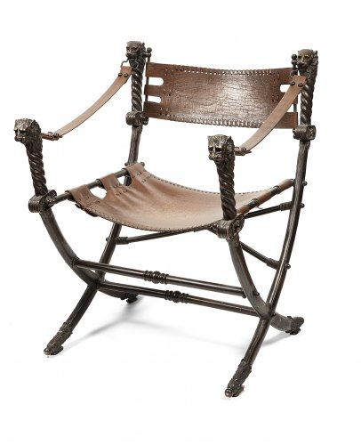 Italian armchair curule bronze and leather, early 20th century