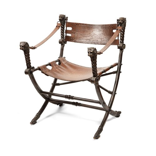 Italian armchair curule bronze and leather, early 20th century - Seating Style