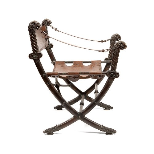Italian armchair curule bronze and leather, early 20th century -