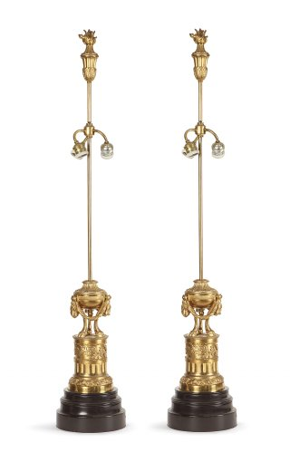 Pair of gilt bronze lamp circa 1900