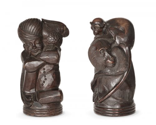Pair of wooden sculptures, oak, Germany 1950 - Curiosities Style