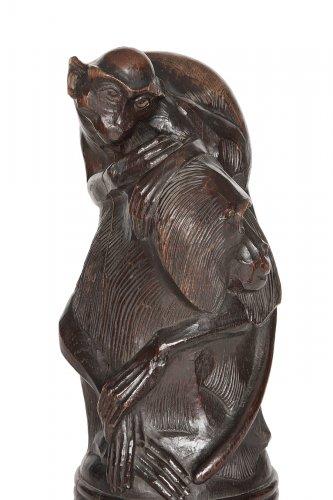 Curiosities  - Pair of wooden sculptures, oak, Germany 1950