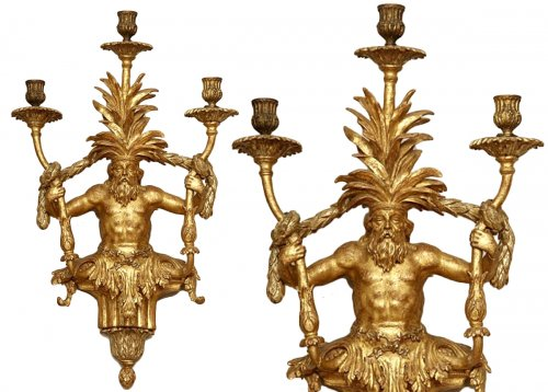 Rare pair of gild wood sconces, Italy 19th century