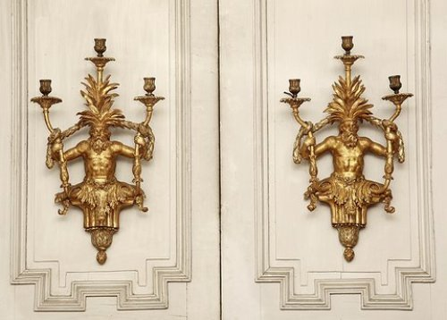 Rare pair of gild wood sconces, Italy 19th century - Lighting Style