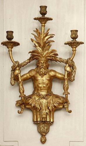 Lighting  - Rare pair of gild wood sconces, Italy 19th century