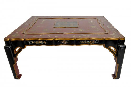 Red lacquered coffee table by Pierre Lottier