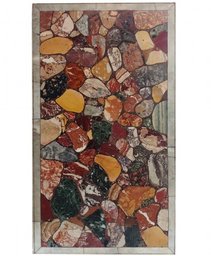 Marquetry tray of antique marbles, 18th century
