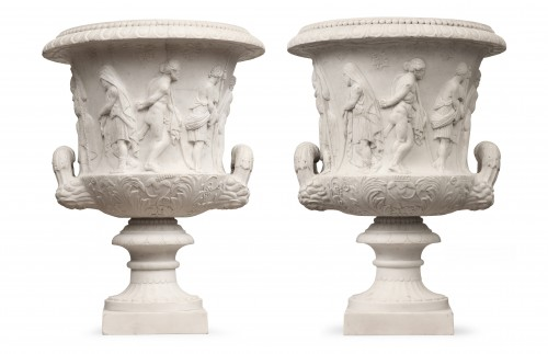 """Pair of Carrara marble vases """"Borghese"""" Early 19th century - Sculpture Style"""
