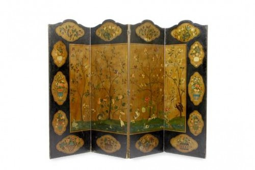 Furniture  - An old painted canvas 4 fold screen, India 18e siècle