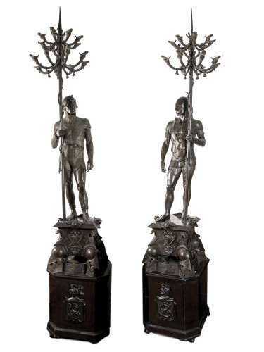 Pair of large regulus candelabra -  Auguste POITEVIN (1819-1873)