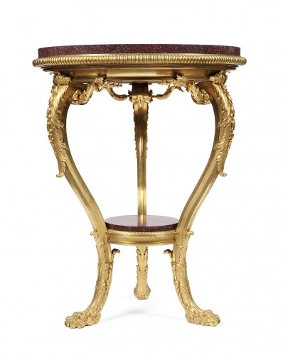 Pedestal table gilded bronze and porphyry, France 1850 - Furniture Style
