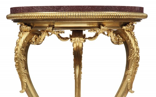 Pedestal table gilded bronze and porphyry, France 1850 -