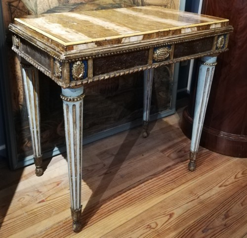 Pair of marble top consoles, Italy 18th century - Furniture Style Louis XVI