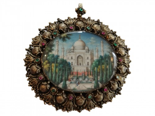 Miniature watercolor Taj Mahal 19th century