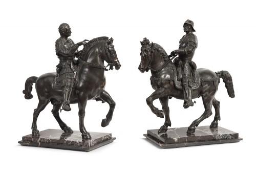 Pair of bronze equestrian statues - circa 1870