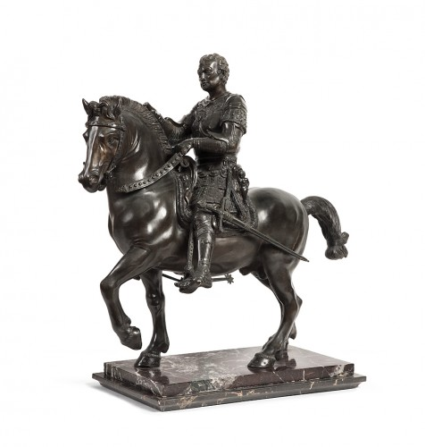 Pair of bronze equestrian statues - circa 1870 - Sculpture Style