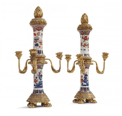 Pair of Imari porcelain candelabra 18th century