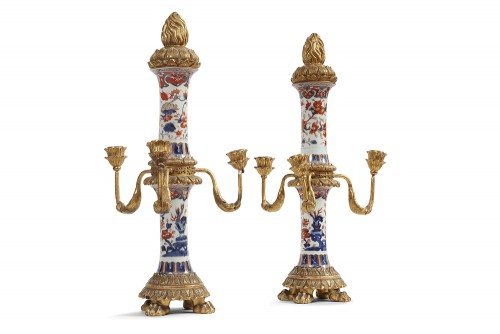 Pair of Imari porcelain candelabra 18th century -
