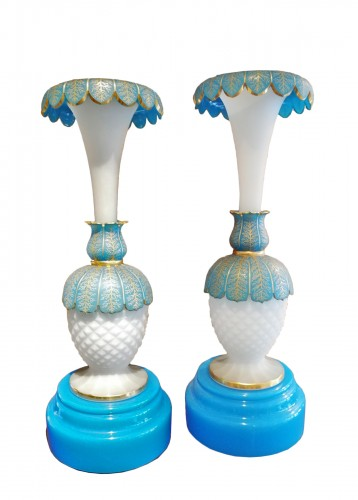 Pair of opaline vases 19th century