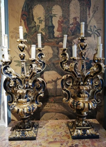 Pair of candelabra Italy  end 17th century - Lighting Style