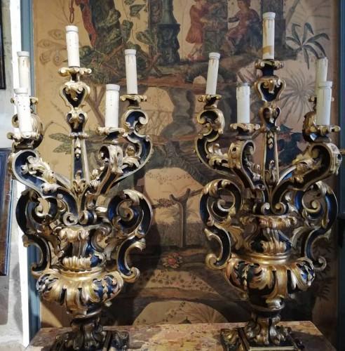 Lighting  - Pair of candelabra Italy  end 17th century