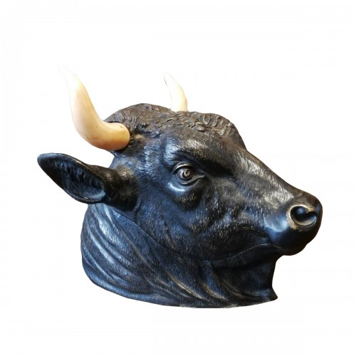 "Inkwell ""bull's head"" in bronze 19e siècle"