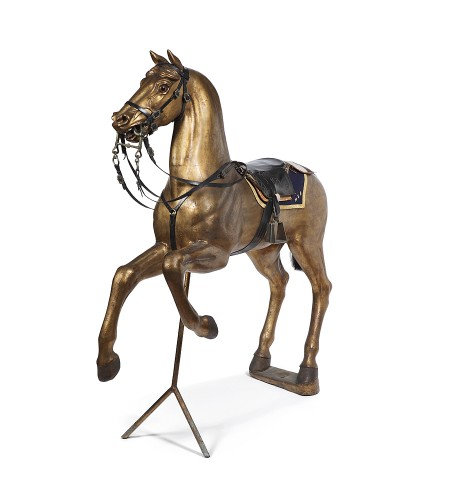 Horse in gilded wood 19th century -