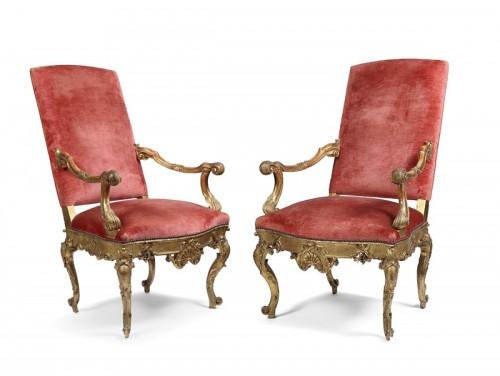 Antiquités - Pair of 18th century Venitian armchairs