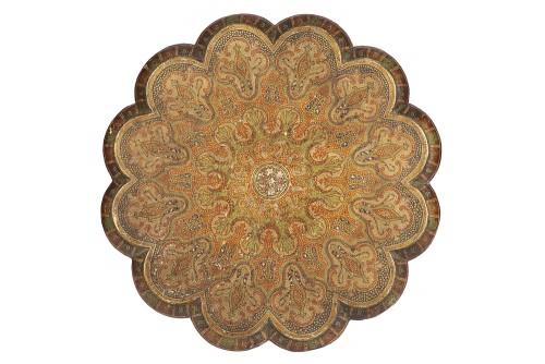Furniture  - Indian pedestal table, 19th century Kashmir