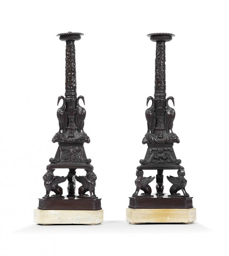 Pair of bronze candleholders Grand Tour 19th century
