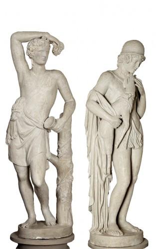 Pair of stucco Ephebes France 18th century