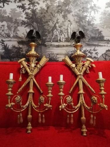 Lighting  - Pair of gilded wood wall lights 19th century