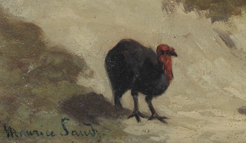 Paintings & Drawings  - The turkey keeper - Maurice Sand (1823-1889)