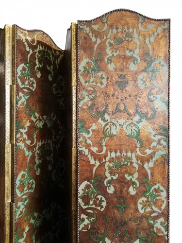 Cordoba leather foldin screen - Holland 18th century
