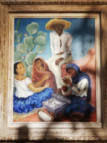 Scene of Mexican life - Marcita Bloch (born in 1903) - Paintings & Drawings Style