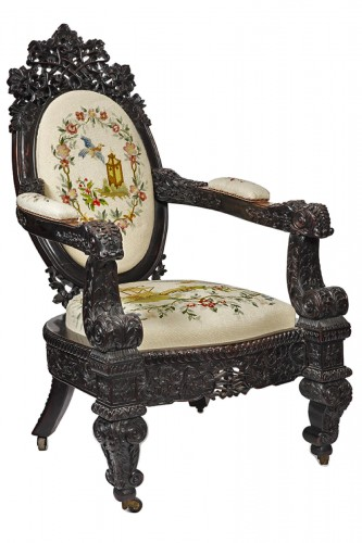 Rosewood armchair Ceylon 1870