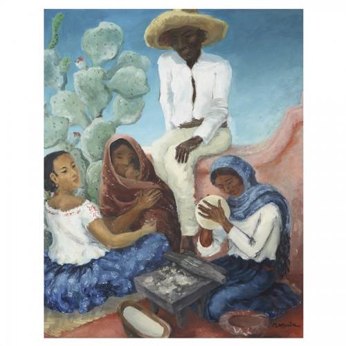 Paintings & Drawings  - Mexican Life Scene -  Marcita Bloch (née en 1903)