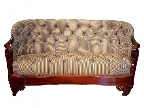 Carved mahogany sofa Restoration period