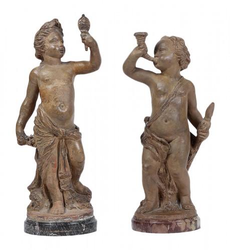 Pair of terracotta Putti, 1769