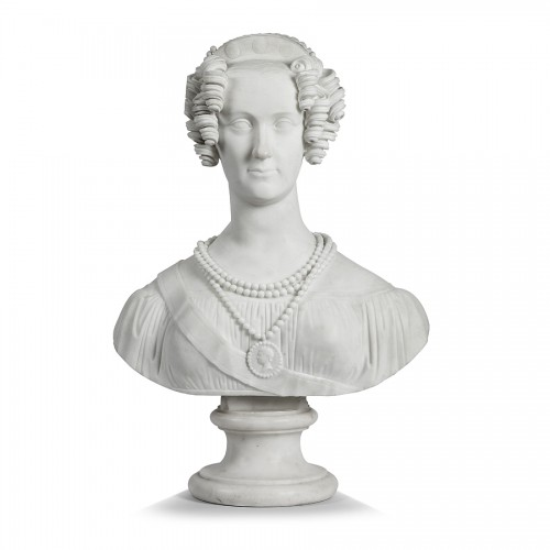 Bust of a woman in Carrare marble, Italy 19th century - Sculpture Style