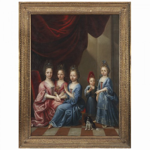 Portrait of Young Girls - Atelier of Pierre Gobert, 18th century - Paintings & Drawings Style