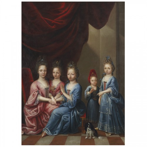 Paintings & Drawings  -  Portrait of Young Girls - Atelier of Pierre Gobert, 18th century