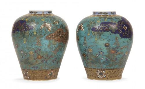 A cloisonné porcelain Japan Jiki Shippo, Takeuchi Chubei 1880