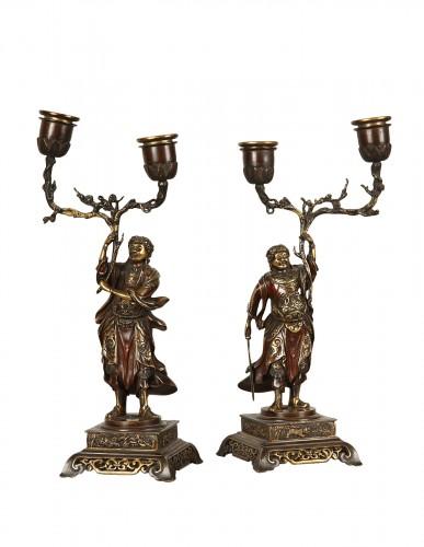 Pair of bronze candlesticks 19th century
